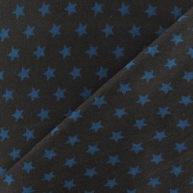 ♥ Coupon 30 cm X 140 cm ♥ Duck-blue stars Cotton jersey fabric - chocolate