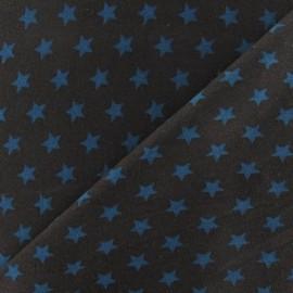 ♥ Coupon 30 cm X 140 cm ♥  Tissu jersey Etoiles bleu canard fond chocolat