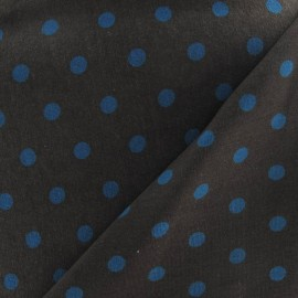 Tissu jersey à pois 8 mm bleu canard fond chocolat x 10cm