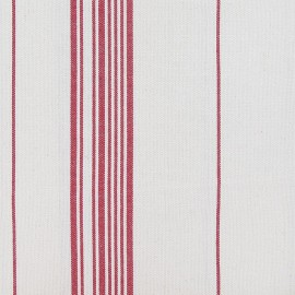 Tissu toile coton rayures rouge x 10cm