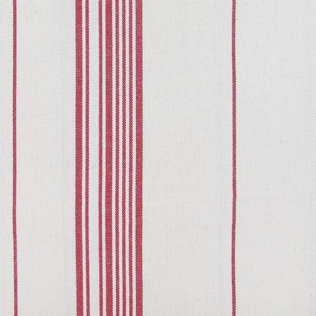 Tissu toile coton rayures rouge x 10cm