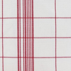 Checked Cotton Canvas Fabric - Red x 10cm