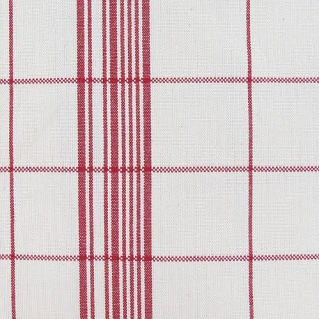 Cotton Canvas Fabric - Squares Red x 10cm