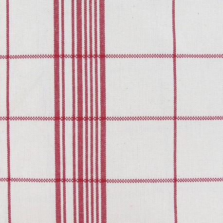 Cotton Canvas Fabric - Squares Red x 10cm