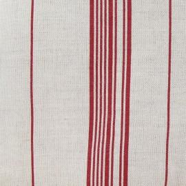 Tissu toile métis rayures rouge x 10cm