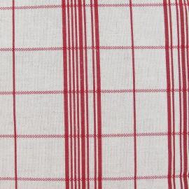 Tissu toile métis carreaux rouge x 10cm