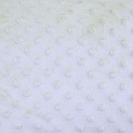 Soft relief minkee velvet Fabric - White dots x 10cm
