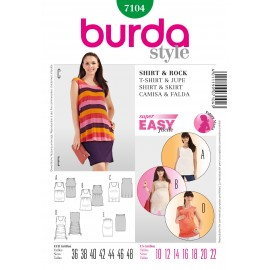 Patron Femme T-shirt & Jupe Burda n°7104