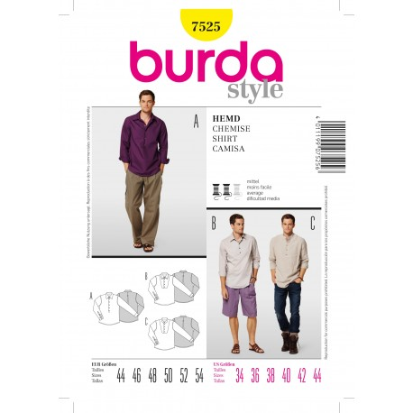 Shirt Sewing Pattern Burda n°7525