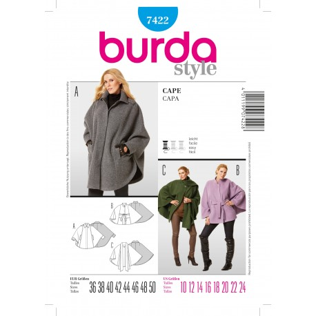 Cape Sewing Pattern Burda n°7422
