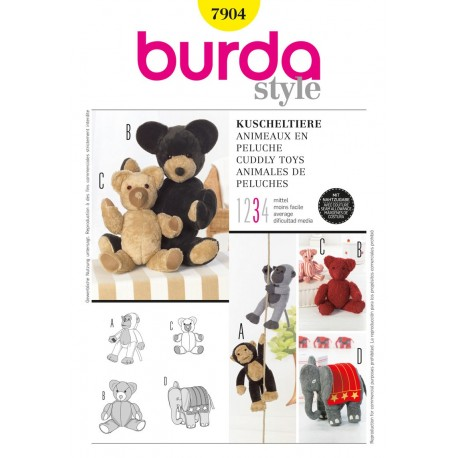 Cuddly Toys Sewing Pattern Burda n°7904