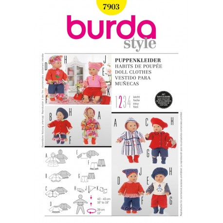 Doll Clothes Sewing Pattern Burda n°7903
