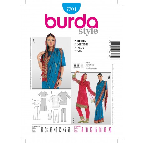 Indian woman Sewing Pattern Burda n°7701