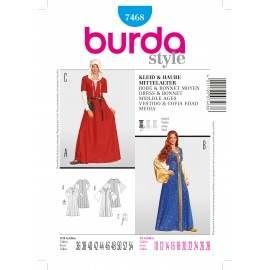 Dress & Bonnet Middle Age Sewing Pattern Burda n°7467