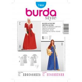 Dress & Bonnet Middle Age Sewing Pattern Burda n°7467