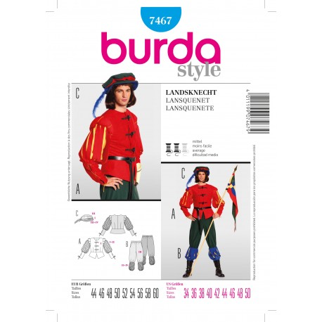 Swiss Guard Costume Sewing Pattern Burda n°7467
