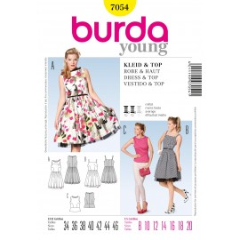 Dress and Top Sewing Pattern Burda n°7054