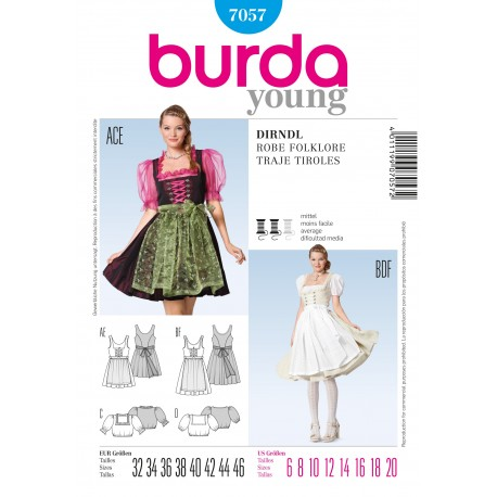 Folkore Dress Sewing Pattern Burda n°7057