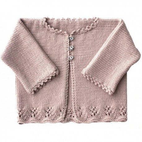 Cardigan Keala  in sizes 3/6/12/18 and 24 months, from Kids Tricots - pale pink