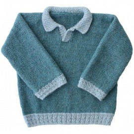 """SWEATER KANOA"" SEWING PATTERN FROM 3 MONTHS TO 18 MONTHS, FROM KIDS TRICOTS - BLUE"