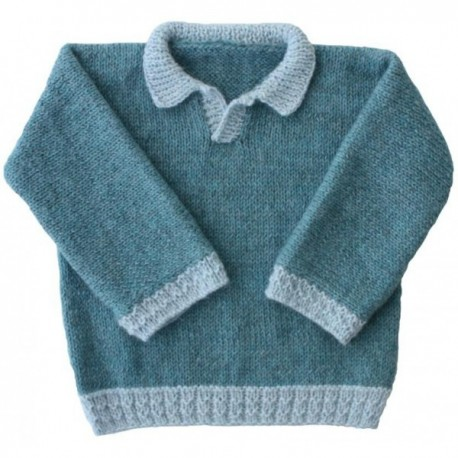 SWEATER KANOA SEWING PATTERN FROM 3 MONTHS TO 18 MONTHS, FROM KIDS TRICOTS - BLUE