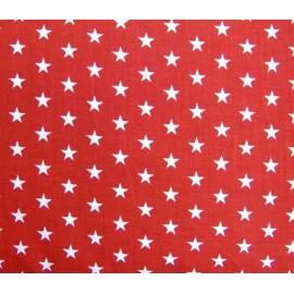 Tissu étoiles blanc/rouge x10cm