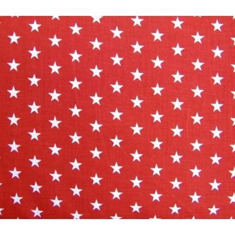 Stars Fabric - White / Red x 10cm