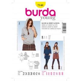Patron Femme Robe & T-shirt & Jupe Burda n°7148
