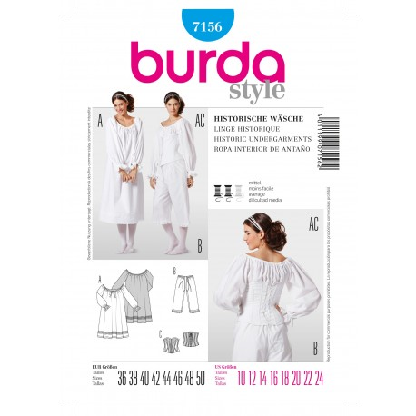 Historic Undergarments Sewing Patterns Burda n°7156
