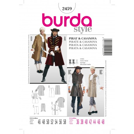 Pirate & Casanova Sewing Pattern Burda n°2459
