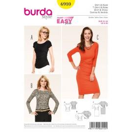 Patron Femme T-shirt & Robe Burda n°6910