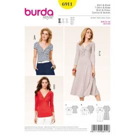Patron Femme T-shirt & Robe Burda n°6911