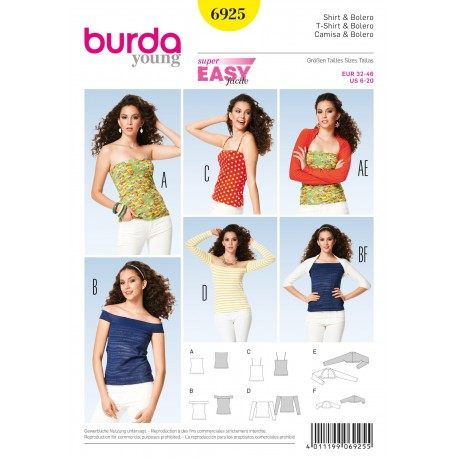 Patron T-shirt & Boléro Burda n°6925