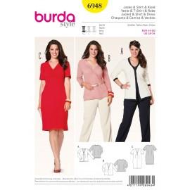 Patron Femme Veste & T-shirt & Robe Burda n°6948