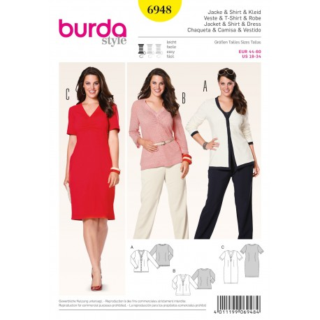 Jacket & Shirt & Dress Sewing Pattern Burda n°6948