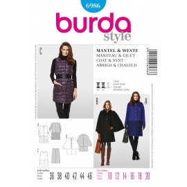 Coat & Vest Sewing Pattern Burda n°6986