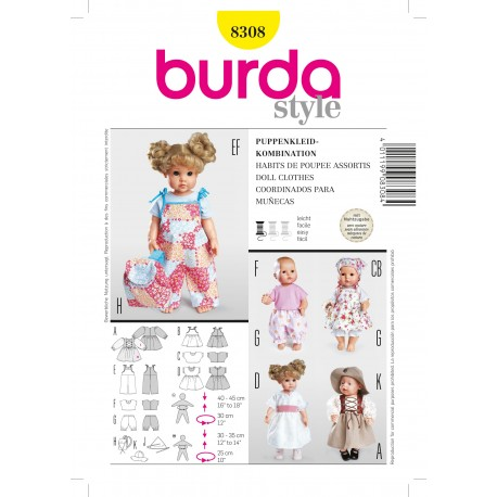 Doll Clothes Sewing Pattern Burda n°8308