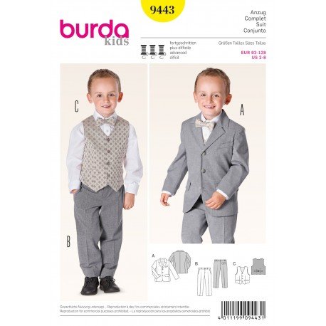 Complete Suit Sewing Pattern Burda n°9443