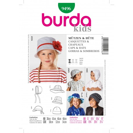 Caps & Hats Sewing Pattern Burda n°9496