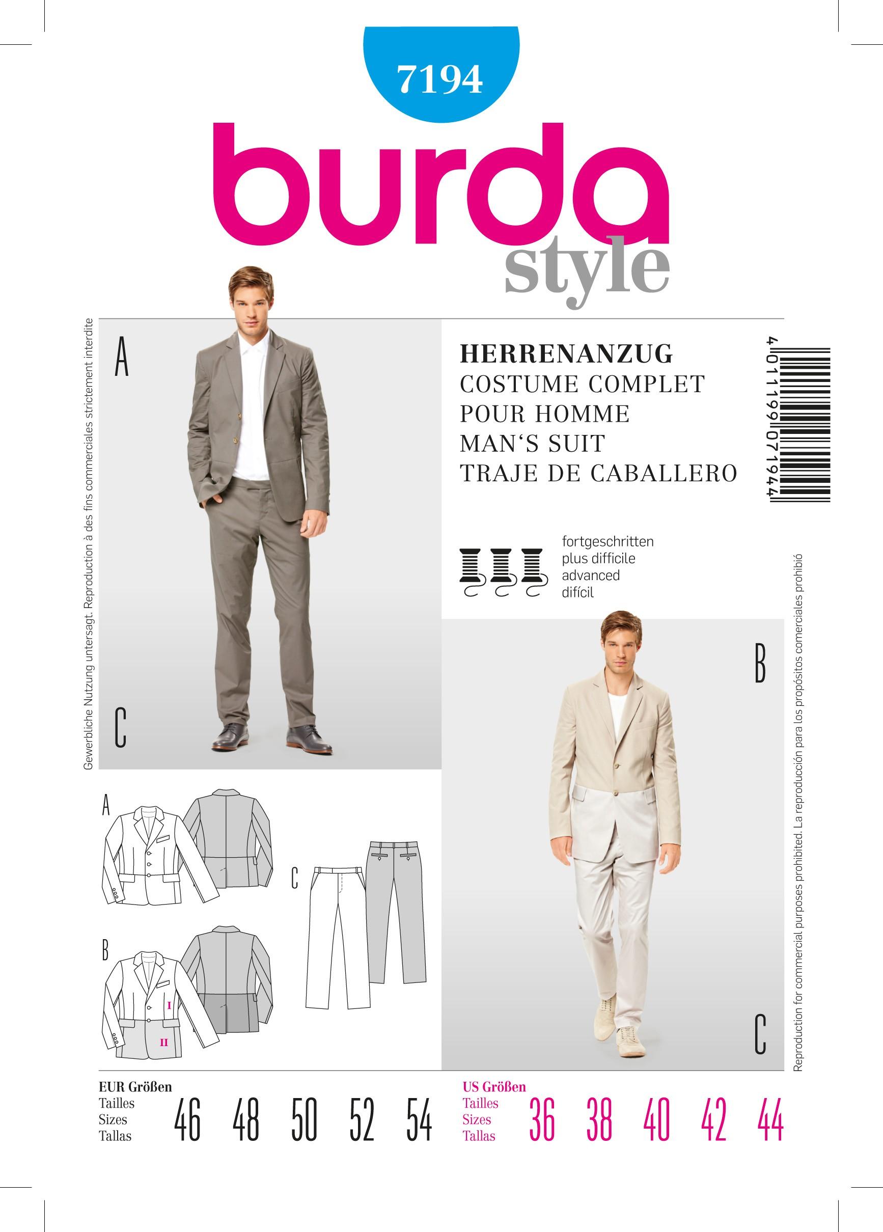 Patron Burda   Patron Costume complet pour homme Burda n°7194 patron de  couture - Ma Petite Mercerie 5142ab1543f