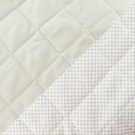 Tissu piqué de coton baby matelassé taupe x 10cm