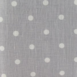 Tissu lin Marilyn pois blanc sur fond gris clair x 10cm