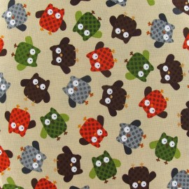 What a Hoot Fabric - Beige x 10cm