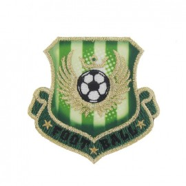 Soccer coat-of-arms iron-on applique - green/golden