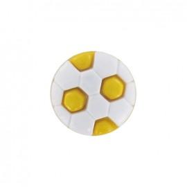 Bouton polyester ballon football jaune