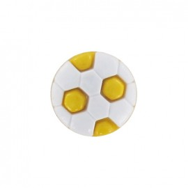 Polyester button, soccer ball - yellow