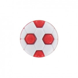 Polyester button, soccer ball - red