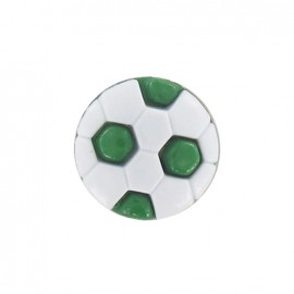 Polyester button, soccer ball - green