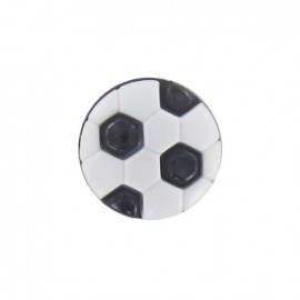 Polyester button, soccer ball - black