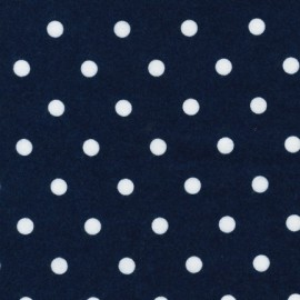 Cozy Cotton flannel fabric Navy small dots - white x 10cm